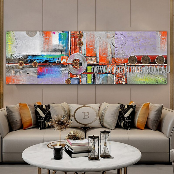Orbicular Abstract Geometric Panoramic Heavy Texture Handmade Framed Modern Painting For Room Wall Décor