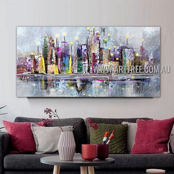 Colorful City Abstract Cityscape Heavy Texture Artist Handmade Stretched Modern Artwork For Room Wall Moulding