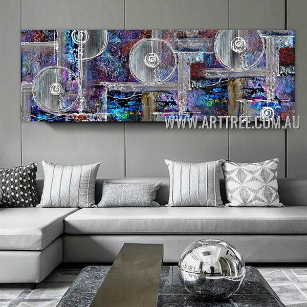 Spheral and Lines Geometric Panoramic Heavy Texture Artist Handmade Stretched Modern Abstract Art For Room Wall Garniture