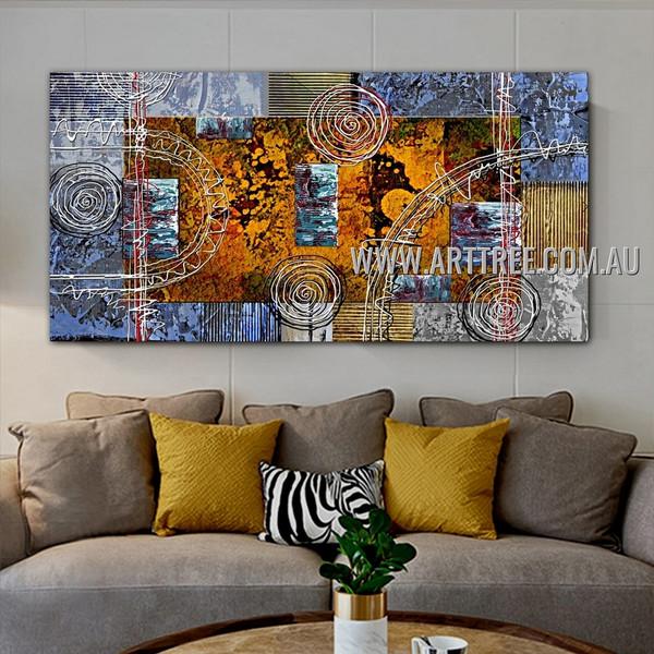 Slurs Abstract Geometric Heavy Texture Artist Handmade Framed Modern Artwork For Room Wall Finery