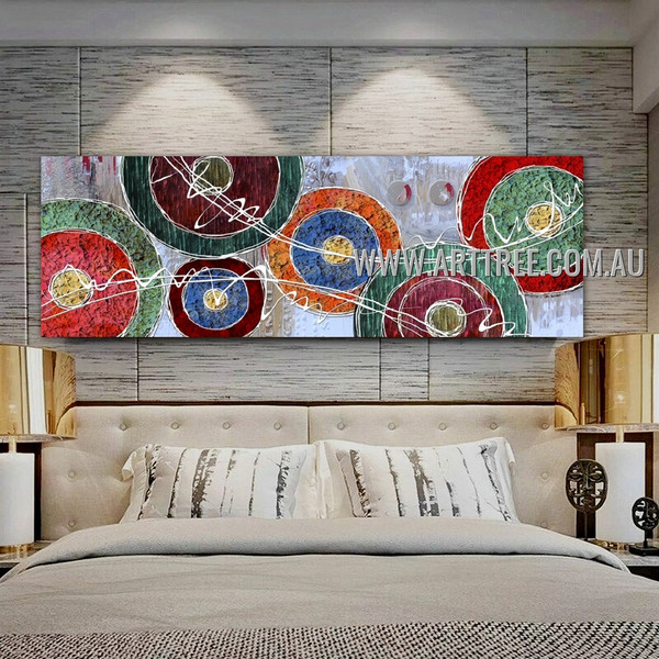 Multicolor Rotund Modern Geometric Impasto Panoramic Artist Handmade Framed Abstract Acrylic Painting For Room Wall Embellishment