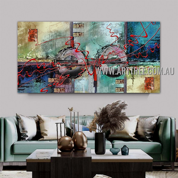 Roundabout Lines Geometric Heavy Texture Artist Handmade Framed Modern Abstract Acrylic Painting For Room Wall Décor