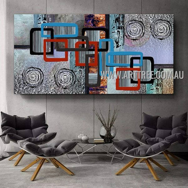 Twirly Abstract Geometric Artist Handmade Heavy Texture Framed Contemporary Art Painting For Room Wall Trimming