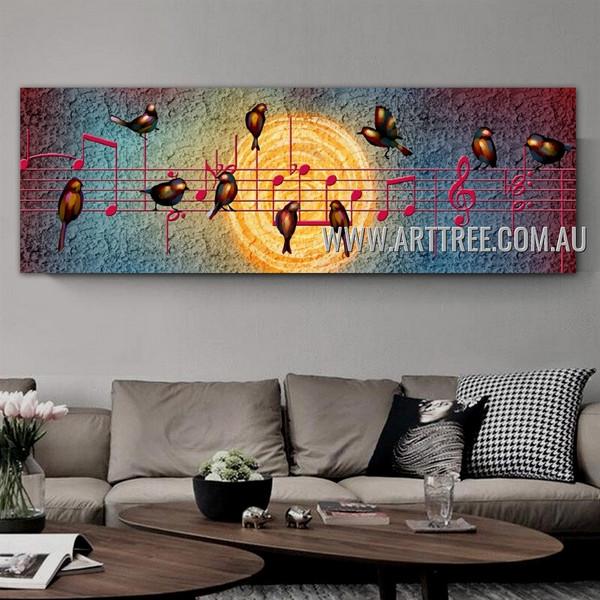 Musical Symbols Abstract Bird Modern Artist Handmade Impasto Framed Modern Contemporary Art For Room Wall Outfit