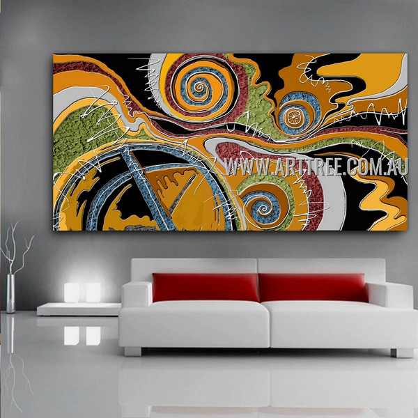 Spheroidal Contemporary Geometric Artist Handmade Impasto Stretched Abstract Art For Room Wall Décor