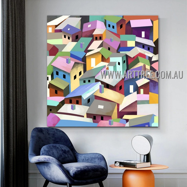 Colorful Houses Cityscape Abstract Artist Handmade Impasto Stretched Modern Artwork For Room Wall Flourish