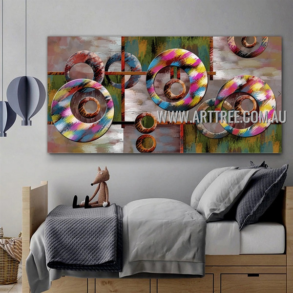 Rambling Contemporary Geometric Artist Handmade Heavy Texture Stretched Modern Abstract Art Painting For Room Wall Equipment