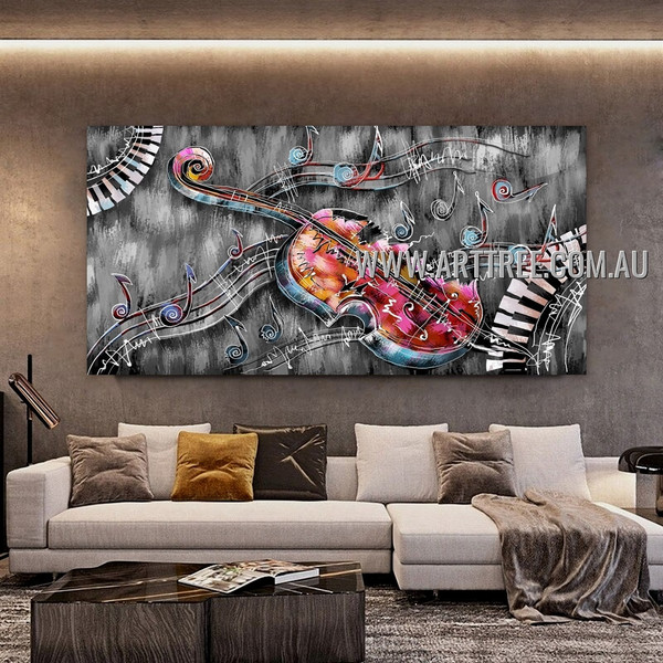 Colorful Violin Abstract Artist Handmade Heavy Texture Framed Modern Painting For Room Wall Disposition