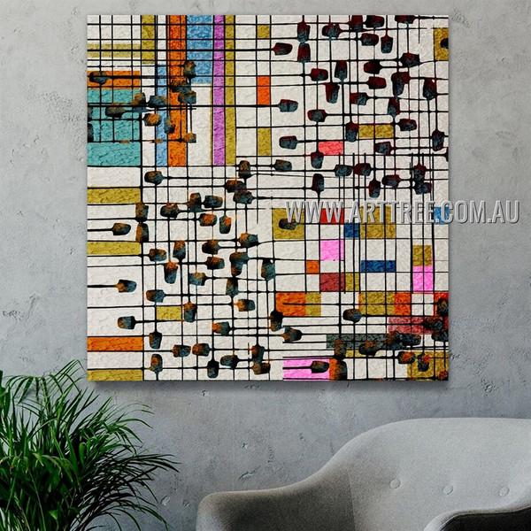 Streak Square Rectangles Abstract Geometric Heavy Texture Artist Handmade Framed Modern Artwork For Room Wall Décor