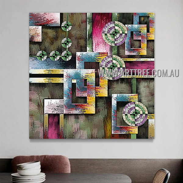 Motley Boxes Geometric Heavy Texture Artist Handmade Framed Contemporary Modern Abstract Painting For Room Wall Tracery