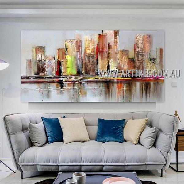 Calico Town Abstract Cityscape Contemporary Framed Impasto Artist Handmade Modern Artwork For Room Wall Garnish