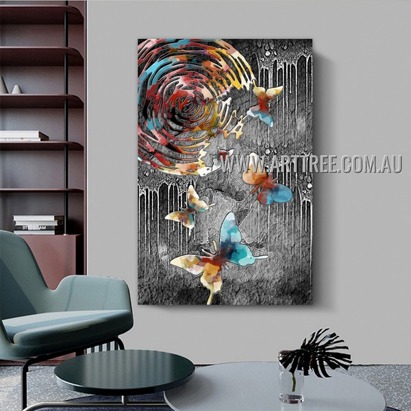 Colorific Butterflies Animal Abstract Artist Handmade Heavy Texture Stretched Modern Painting For Room Wall Disposition