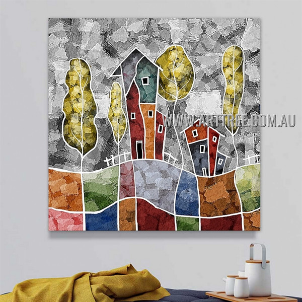 Dapple House Abstract Landscape Artist Handmade Heavy Texture Stretched Modern Painting For Room Wall Disposition