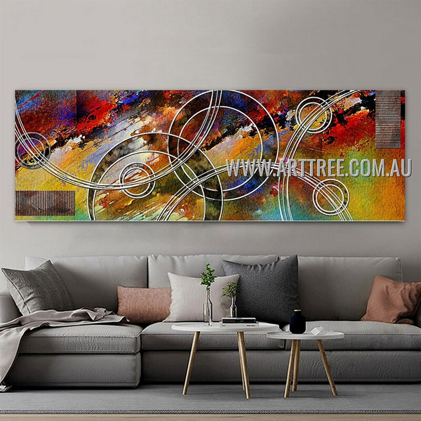 Circumlocutory Streaks Panoramic Contemporary Artist Handmade Impasto Stretched Modern Abstract Canvas Art For Room Wall Moulding