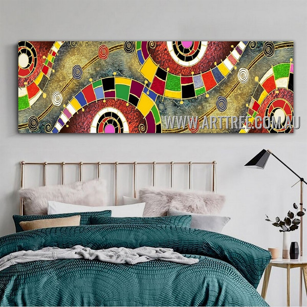 Convoluted Contemporary Panoramic Artist Handmade Impasto Stretched Abstract Canvas Art For Room Wall Adornment