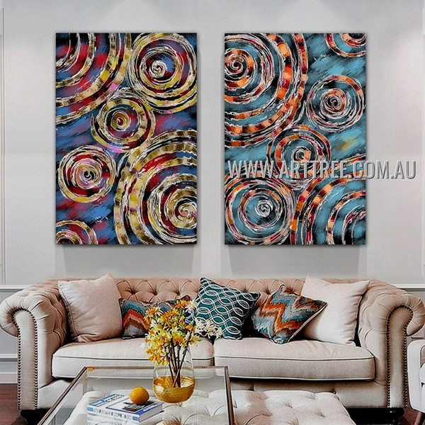 Sinuate Tarnishes Abstract Modern Artist Handmade 2 Piece Multi Panel Wall Art Painting Set For Room Garnish