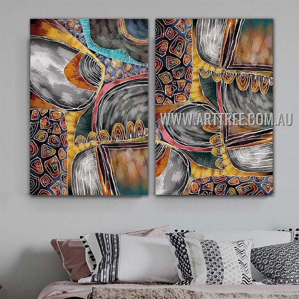 Wandering Lines Abstract Contemporary Artist Handmade Framed 2 Piece Multi Panel Wall Art Painting Set For Room Onlay