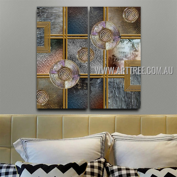 Whorled Abstract Modern Handmade 2 Piece Split Complementary Painting Wall Art Set for Room Wall Décor