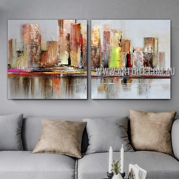 Colorful Town Abstract Cityscape Modern Handmade 2 Piece Split Oil Paintings Wall Art Set For Room Wall Garnish