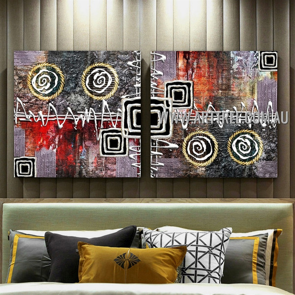 Square Curved Lines Abstract Modern Artist Handmade 2 Piece Split Canvas Painting Wall Art Set For Room Wall Ornamentation
