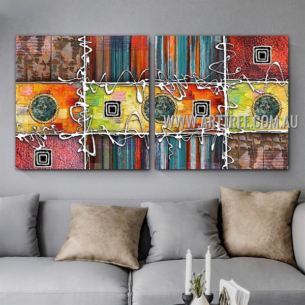 Helical Lineament Abstract Modern Artist Handmade 2 Piece Multi Panel Oil Painting Wall Art Set For Room Wall Onlay