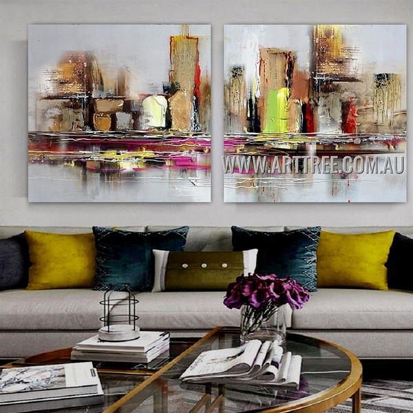 Multicolor Edifices Abstract Cityscape Modern Artist Handmade 2 Piece Multi Panel Wall Art Painting Wall Art Set For Room Wall Decor