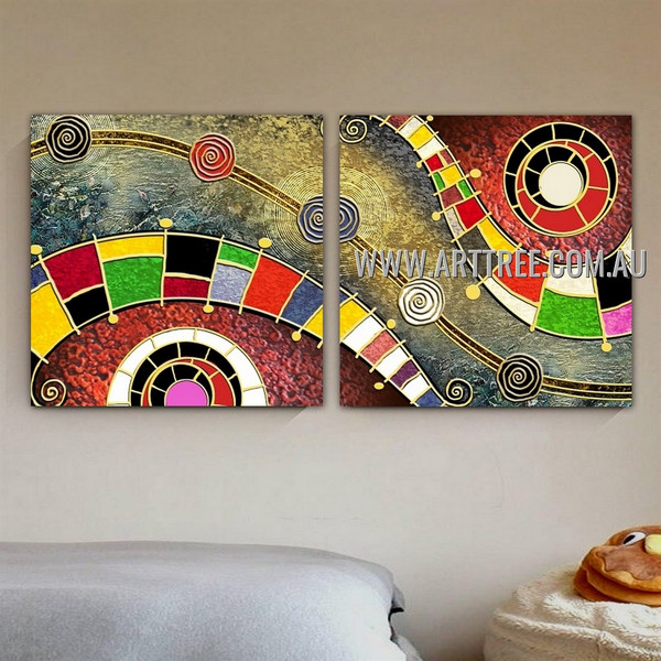 Sphery Design Abstract Geometric Contemporary Handmade 2 Piece Multi Panel Canvas Painting Wall Art Set For Room Wall Garniture