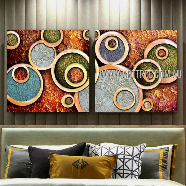 Orbicular Design Abstract Contemporary Handmade 2 Piece Split Panel Canvas Wall Art Painting Set For Room Wall Decor