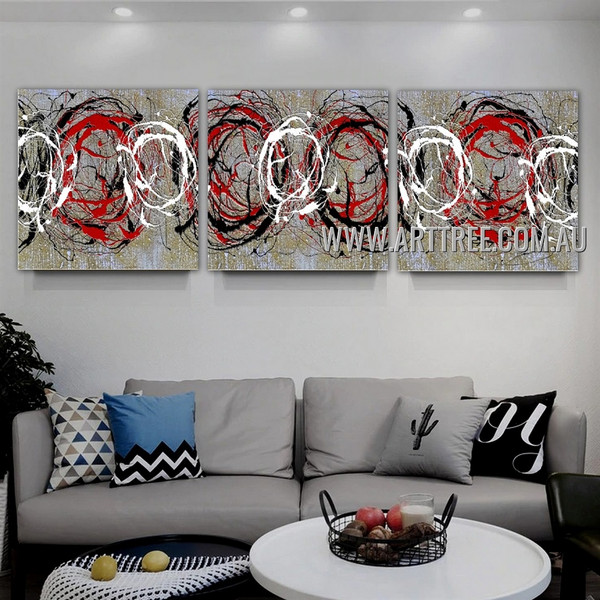 Rounded Tarnishes Abstract Contemporary Handmade 3 Piece Split Panel Painting Wall Art Set For Room Wall Ornamentation