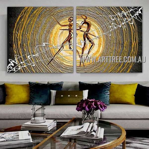 Sparkling Dancer Abstract Modern Artist Handmade 2 Piece Multi Panel Oil Painting Wall Art Set For Room Wall Decoration