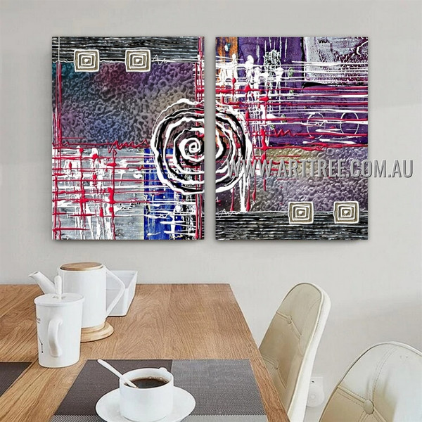 Rotund Lineaments Abstract Modern Artist Handmade Heavy Texture 2 Piece Multi Panel Oil Paintings Wall Art Set For Room Wall Ornament