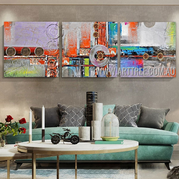 Discoloration Abstract Modern Artist Handmade 3 Piece Multi Panel Canvas Oil Painting Wall Art Set For Room Wall Molding