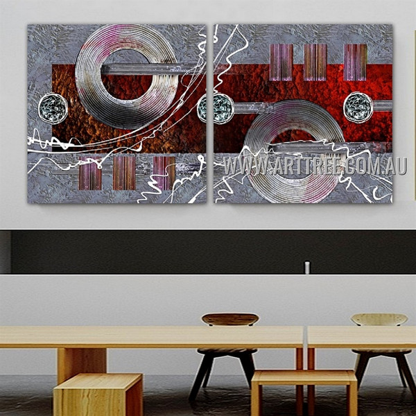 Convoluted Blemishes Abstract Modern Artist Handmade 2 Piece Split Panel Painting Wall Art Set For Room Wall Flourish