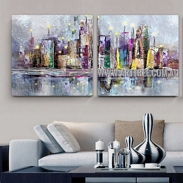 Multicolor Erection Abstract Cityscape Modern Artist Handmade 2 Piece Split Oil Painting Wall Art Set For Room Wall Finery