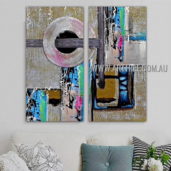 Globose Lines Abstract Modern Artist Handmade 2 Piece Split Canvas Paintings Wall Art Set For Room Wall Décor