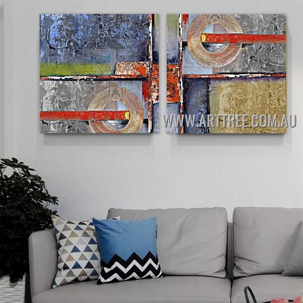 Globular Streaks Abstract Modern Artist Handmade 2 Piece Split Canvas Painting Wall Art Set For Room Wall Outfit