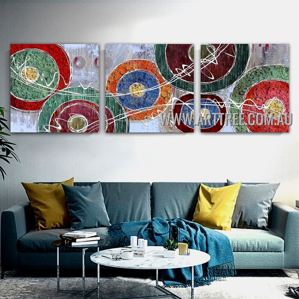 Wiggly Design Abstract Modern Artist Handmade Heavy Texture 3 Piece Multi Panel Wall Art Paintings Set For Room Wall Decoration