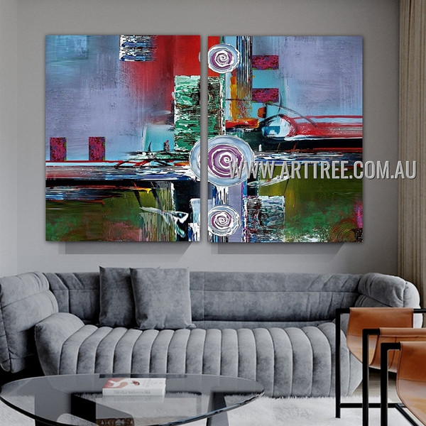 Orbed and Boxes Abstract Modern Artist Handmade Heavy Texture 2 Piece Multi Panel Oil Painting Wall Art Set For Room Wall Getup