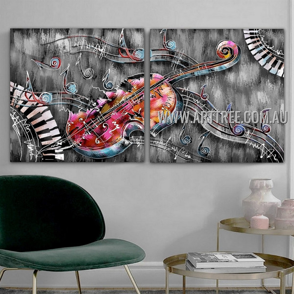 Curved Piano Keys Abstract Contemporary Artist Handmade 2 Piece Split Oil Paintings Wall Art Set for Room Wall Equipment