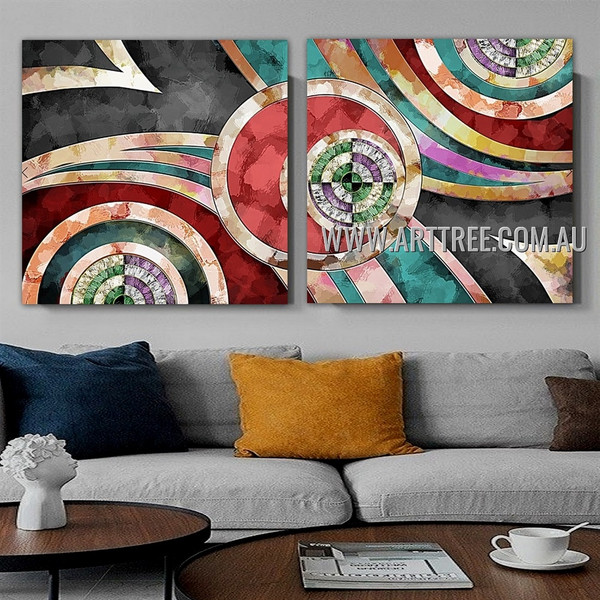 O Shaped Design Abstract Modern Artist Handmade 2 Piece Multi Panel Wall Art Paintings Set For Room Wall Outfit