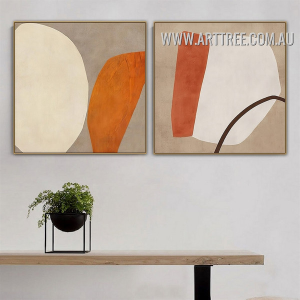 Bold Blots Line Abstract Vintage Image Canvas 2 Piece Geometrical Artwork Print for Room Wall Disposition