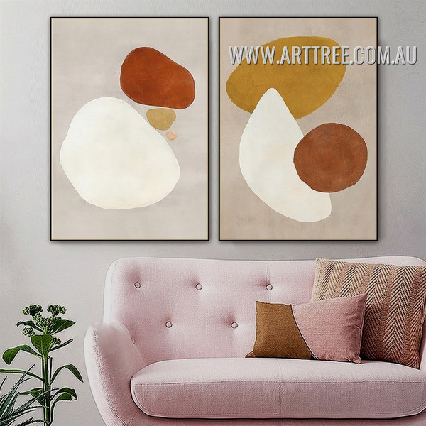Roundly Patches Spots Abstract 2 Piece Geometrical Vintage Painting Photo Canvas Print for Room Wall Onlay