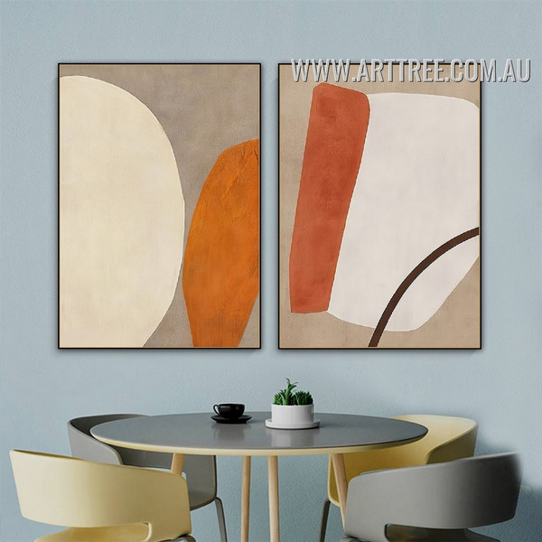 Goal Mark Spots Abstract Geometrical Art Vintage Pic 2 Panel Canvas Print for Room Wall Equipment