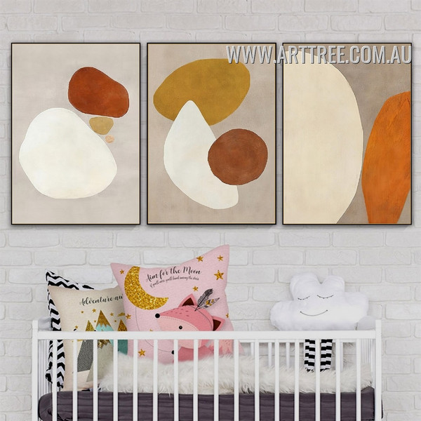 Orb Tarnish 3 Piece Geometrical Drawing Vintage Painting Pic Canvas Abstract Art Print for Room Wall Tracery