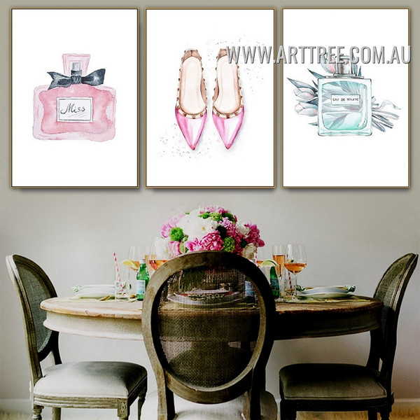 Squaw Scent Heels Minimalist 3 Piece Typography Watercolor Wall Painting Picture Canvas Print for Room Garnish
