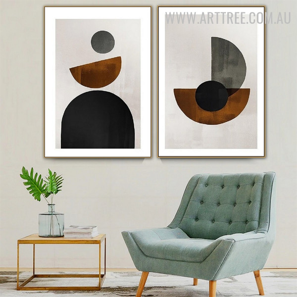 Half Scansion Circle 2 Piece Geometric Shapes Minimalist Retro Painting Photo Canvas Print for Room Wall Moulding