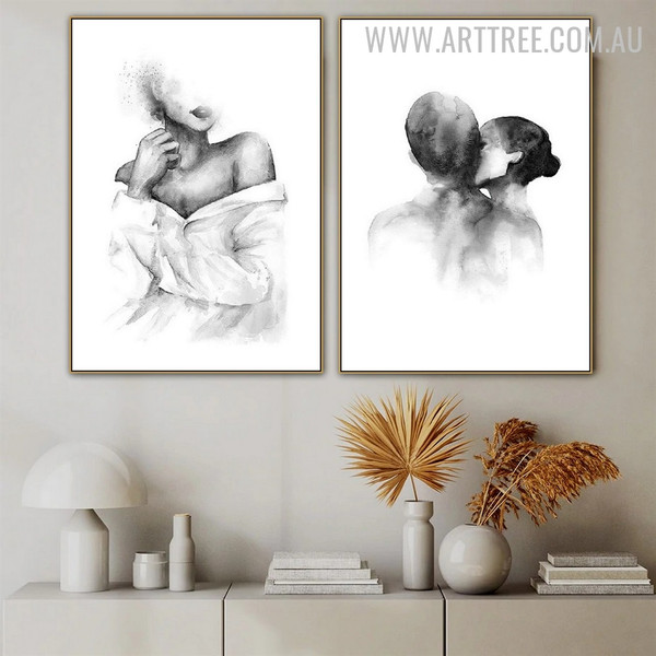 Love Kiss Couple Figure Retro Painting Photo 2 Piece Minimalist Wall Art Canvas Print for Room Garniture