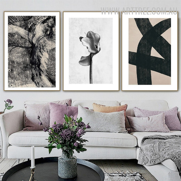 Bold Stroke Flower Abstract Geometrical Shapes Vintage Painting Photograph 3 Piece Canvas Print for Room Wall Assortment