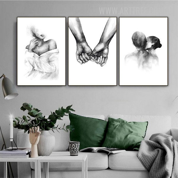 Brace Kiss Girl Abstract 3 Piece Minimalist Figure Vintage Wall Art Painting Photograph Canvas Print for Room Finery