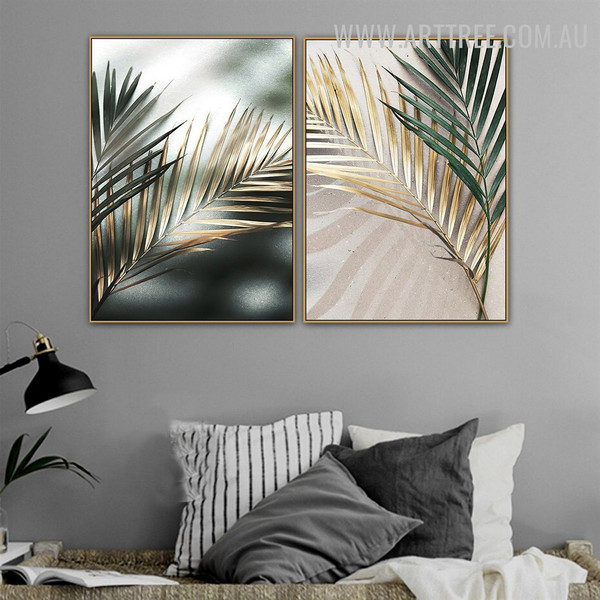 Palm Leafage Shadow Abstract Floral 2 Piece Vintage Painting Photograph Canvas Print for Room Wall Embellishment